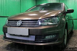 Защита радиатора Volkswagen Polo седан 2015- (2 части) (Allstar, Conceptline, Trendline, Comfortline) chrome низ