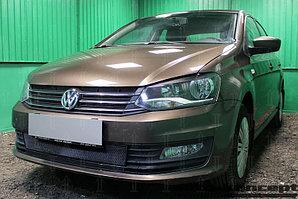 Защита радиатора Volkswagen Polo седан 2015- (4 части) black верх
