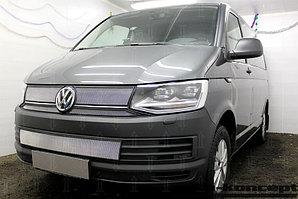 Защита радиатора Volkswagen T6 (Transporter,Multivan,Caravelle), (TrendLine) (4части) 2015- chrome верх