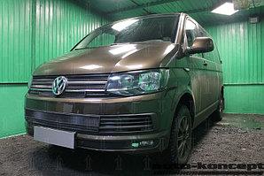 Защита радиатора Volkswagen T6 (Transporter,Multivan,Caravelle) 2015- (6 частей) black верх