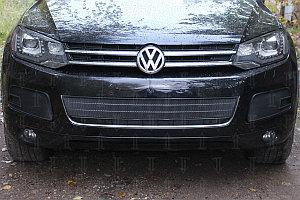 Защита радиатора Volkswagen Touareg II 2010-2014 центральная black