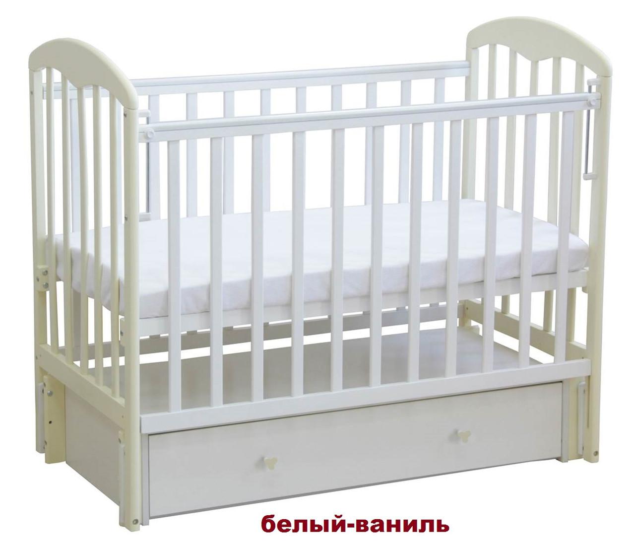 Кроватка детская Фея с ящиком (белый-ваниль)