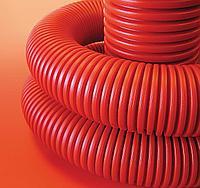 DKC Труба гибкая двустенная для открытой прокладки ПВ-0, УФ,  д.63мм, цветчерный, в бухте 50м., с протяжкой, фото 1