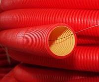 DKC Труба гибкая двустенная для открытой прокладки ПВ-0, УФ,  д.110мм, цветчерный в бухте 50м., с протяжкой, фото 1