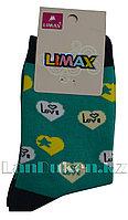 Детские носки Limax 31-34 зеленые с сердечками