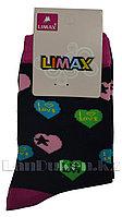 Детские носки Limax 31-34 черные с сердечками