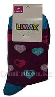 Детские носки Limax 31-34 фиолетовые с сердечками