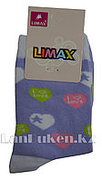 Детские носки Limax 31-34 сиреневые с сердечками