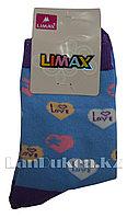 Детские носки Limax 31-34 голубые с сердечками