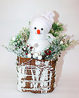 Новогодний снеговик, белый, 30 см