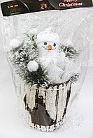 Новогодний снеговик, белый, 35 см