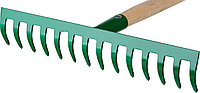 Грабли РОСТОК садовые с черенком, 14 прямых зубцов, фото 1