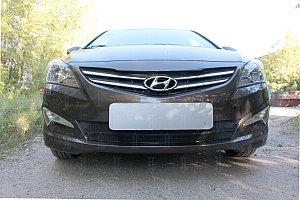 Защита радиатора Hyundai Solaris 2014-2017 black OPTIMAL