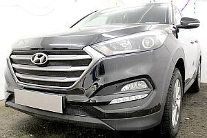 Защита радиатора Hyundai Tucson 2015- (Comfort) (4 части) black верх OPTIMAL