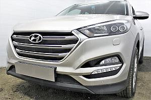 Защита радиатора Hyundai Tucson 2015- (Travel,Prime) (4 части) black верх OPTIMAL