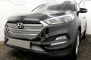 Защита радиатора Hyundai Tucson 2015- (Comfort) (4 части) chrome верх OPTIMAL