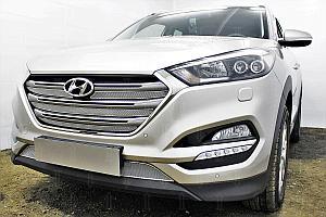 Защита радиатора Hyundai Tucson 2015- (Travel,Prime) (4 части) chrome верх OPTIMAL