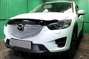 Защита радиатора Mazda CX5 2015-2017 3D chrome верх OPTIMAL