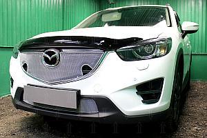 Защита радиатора Mazda CX5 2015-2017 3D chrome с парктроником верх OPTIMAL