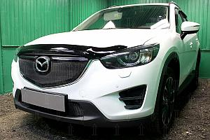 Защита радиатора Mazda CX5 2015-2017 3D black верх OPTIMAL