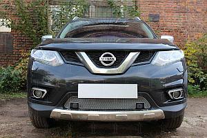 Защита радиатора Nissan X-Trail T32 2015- chrome низ c парктроником  OPTIMAL