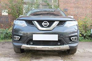 Защита радиатора Nissan X-Trail T32 2015- black низ c парктроником OPTIMAL