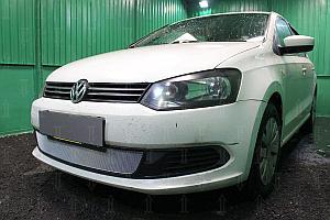 Защита радиатора Volkswagen Polo седан 2010-2014 chrome OPTIMAL