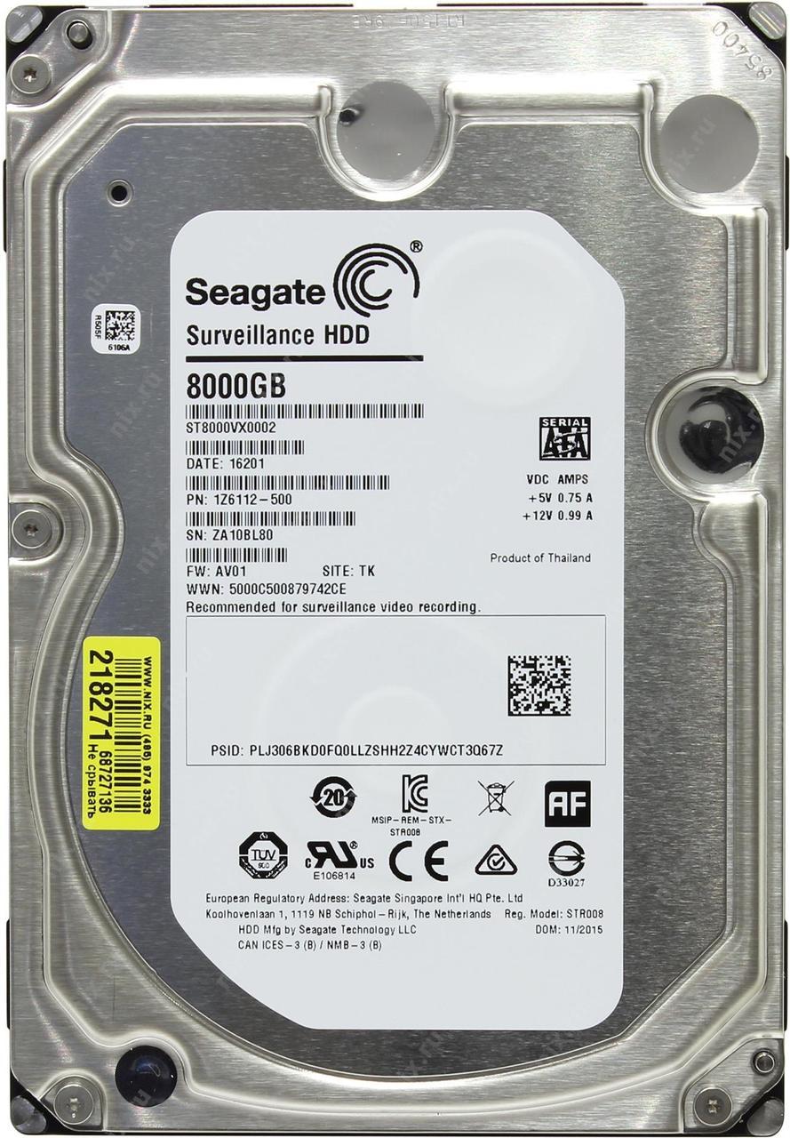 Жесткий диск HDD 8000 Gb SEAGATE Surveillance,  ST8000VX0002