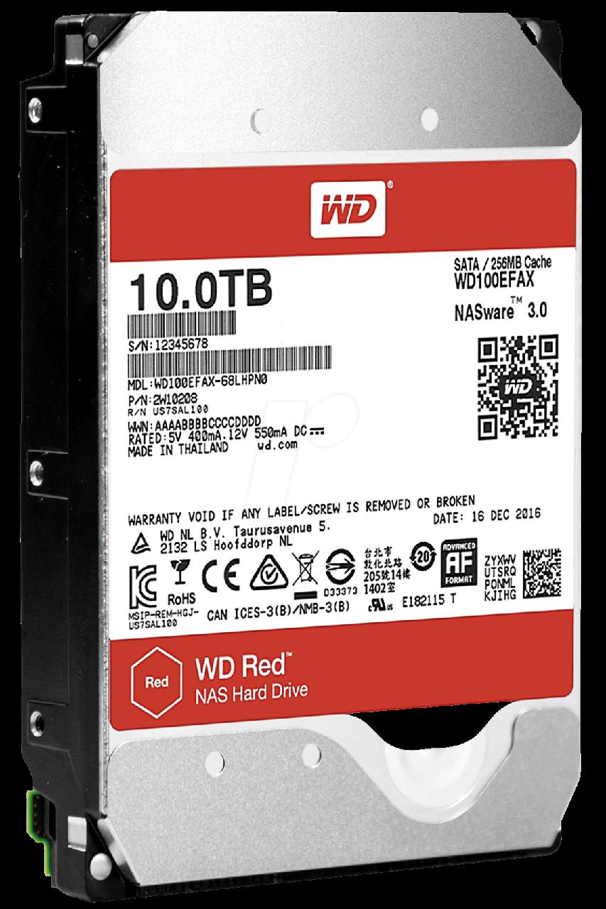Жесткий диск внутренний Western Digital RED 6GB/S 256MB 10Тб HDD 3.5″ SATA WD100EFAX
