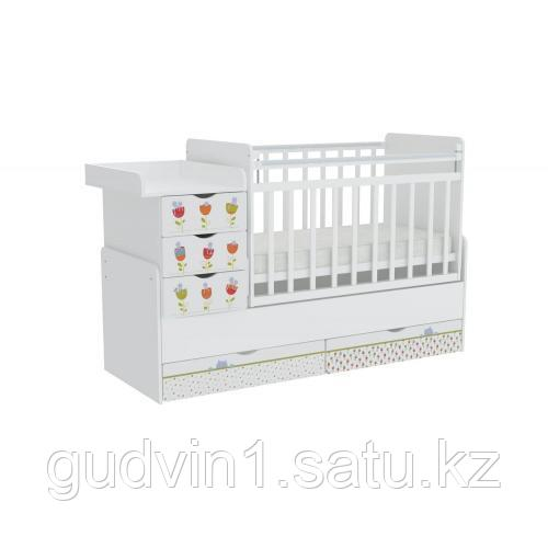 Детская кроватка-трансформер Фея 1150 Сонные котята, белый ФОТОПЕЧАТЬ 00-72555