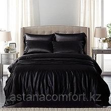 Постельное белье евро-размера. Черный сатин.