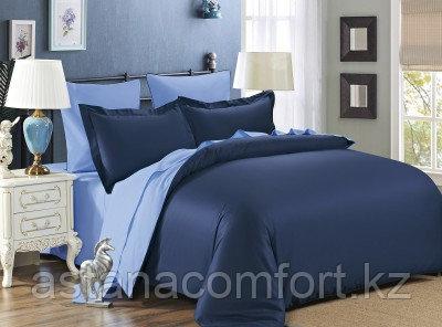 Постельное белье евро-размера. Сине-голубой сатин.