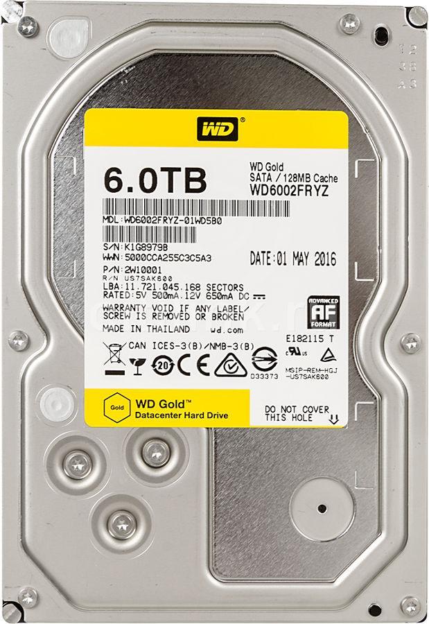 Жесткий диск для ЦОД и горизонтально масштабируемых архитектур с HDD 6 Tb Western Digital Gold, WD6002FRYZ