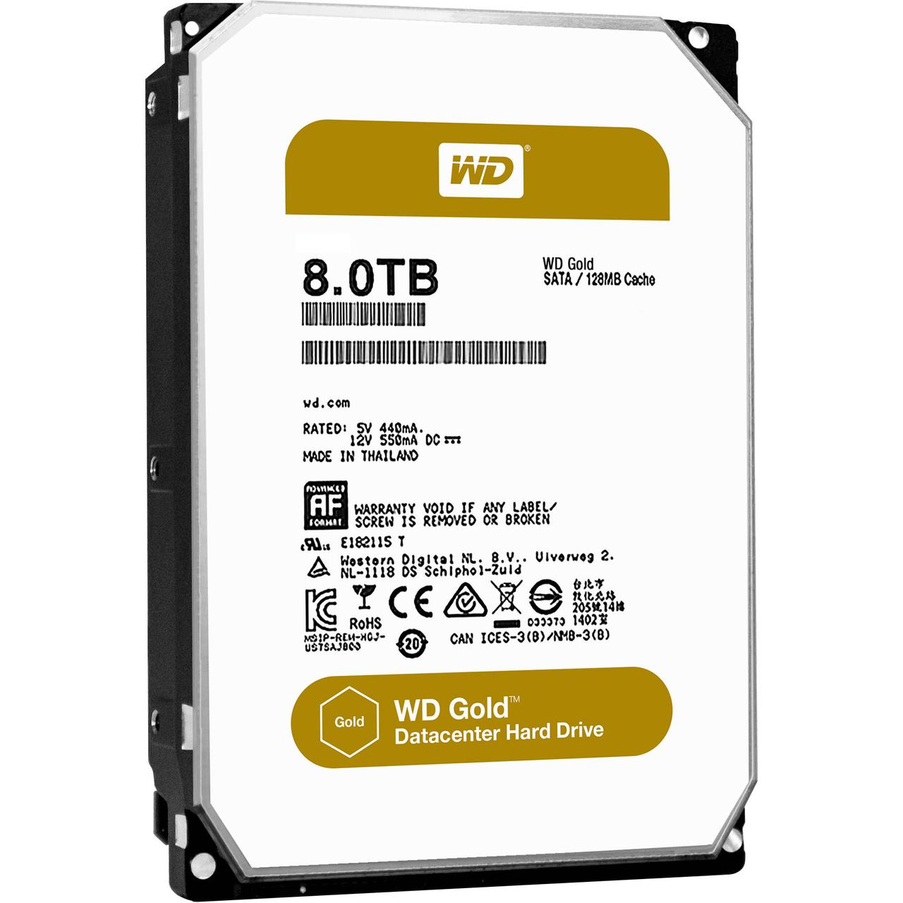 Жесткий диск внутренний Western Digital (WD) GOLD  7200RPM WD8002FRYZ (8Тб (8000Гб), HDD, 3,5″, Для серверов,
