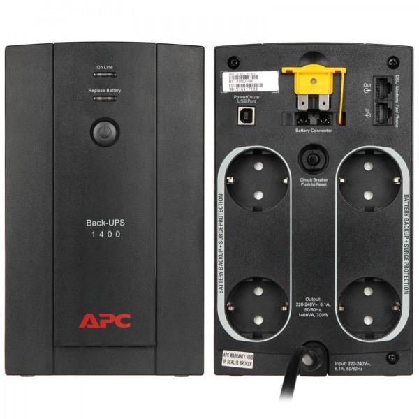 ИБП APC/BX1400U-GR/Back/Line Interactiv/AVR/Schuko/1 400 VА/700 W