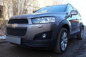 Защита радиатора Chevrolet Captiva 2013- рестайлинг (2 части) black PREMIUM