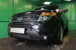 Защита радиатора Ford Explorer 2010-2015 black верх PREMIUM