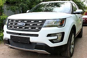 Защита радиатора Ford Explorer 2015- black середина PREMIUM