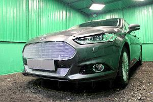 Защита радиатора Ford Mondeo V 2015- (3D) chrome низ PREMIUM
