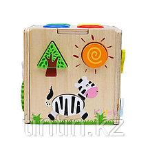 Деревянный развивающий куб-сортер со стучалкой, фото 3