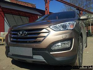 Защита радиатора Hyundai Santa Fe 2012-2015 chrome PREMIUM