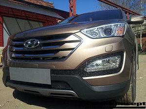 Защита радиатора Hyundai Santa Fe 2012-2015 black PREMIUM
