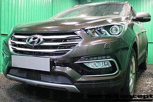Защита радиатора Hyundai Santa Fe 2015- с датчиком ACC black PREMIUM