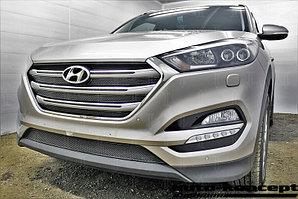 Защита радиатора Hyundai Tucson 2015- (Travel,Prime) (4 части) black верх PREMIUM