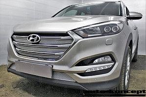 Защита радиатора Hyundai Tucson 2015- (Travel,Prime) (4 части) chrome верх PREMIUM