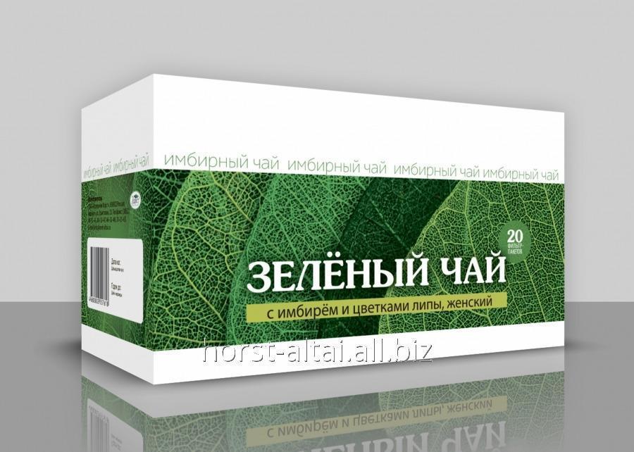 Зеленый чай с имбирем и цветками липы. Женский, 20ф/пак