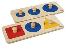 Пазлы с геометрическими фигурами разной формы (6 фигур на двух подставках)