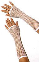 Перчатка Сетка длинные без пальцев (белые)