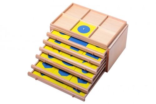 Геометрический комод (35 фигур) со вставками из полистирола 3мм. (желтые рамки, синие вставки)
