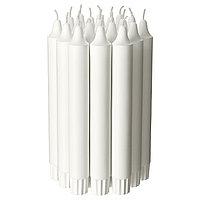 Свеча неароматическая, неоплывающая Джубл белая 19 см ИКЕА, IKEA